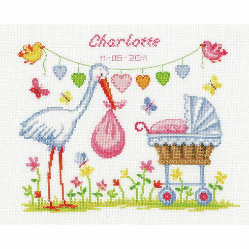Stork And Pram Cross Stitch Kit