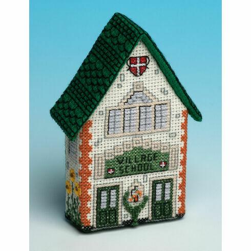 School House 3D Fridge Magnet Cross Stitch Kit
