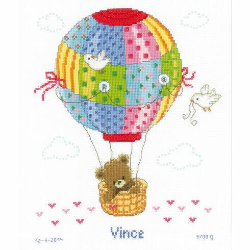 Hot Air Balloon Birth Sampler Cross Stitch Kit