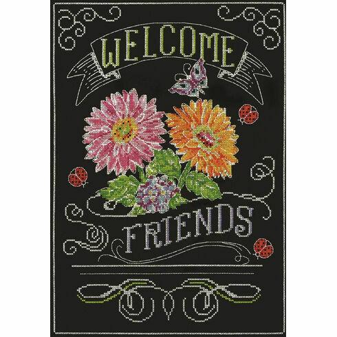 Welcome Friends Chalkboard Cross Stitch Kit