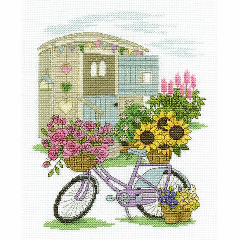 Flowery Bicycle Cross Stitch Kit