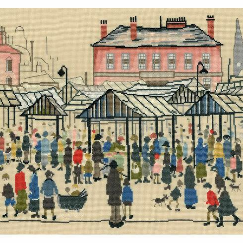 Lowry - Market Scene, Northern Town Cross Stitch Kit