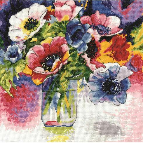 Watercolour Anemones Cross Stitch Kit