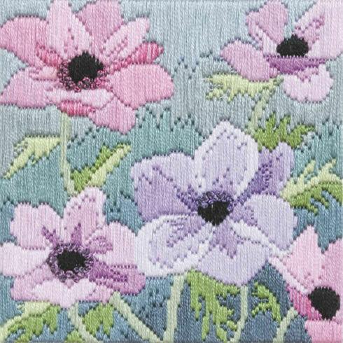 Purple Anemones Silken Long Stitch Kit