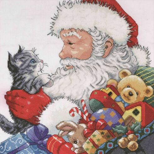 Santa With Kitten Cross Stitch Kit