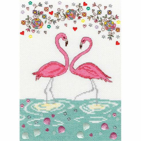 Love Flamingo Cross Stitch Kit