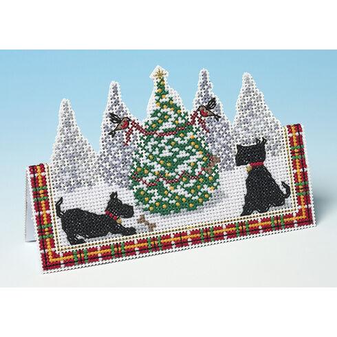Scottie Christmas 3D Cross Stitch Card Kit