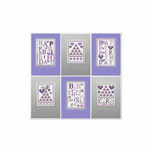 Happy Birthday Cake Cross Stitch Card Kits (Set of 6)