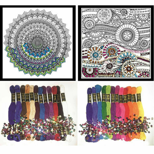 Design Works Zenbroidery Set 1 (2 fabric packs + 2 stranded cotton trim packs)