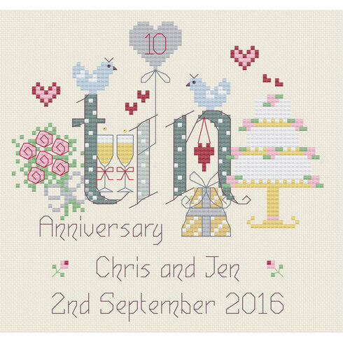Tin 10th Wedding Anniversary Cross Stitch Kit