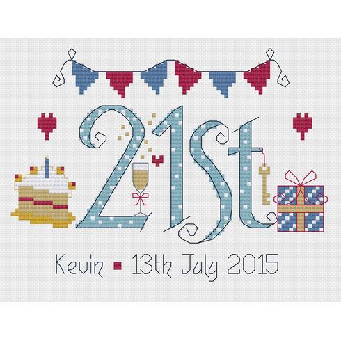 21st Birthday Blue Cross Stitch Kit