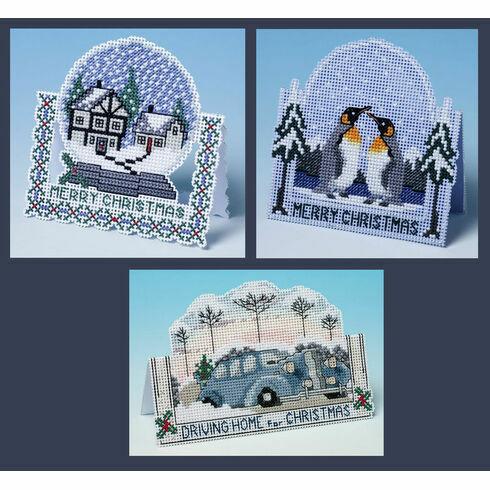 3D Favourites Cross Stitch Christmas Card Kits (Set Of 3)