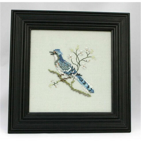 East Indian Blue Jay Beadwork Embroidery Linen Kit