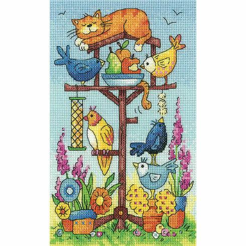Bird Table (by Karen Carter) Cross Stitch Kit
