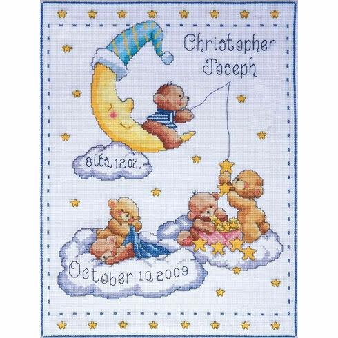 Heavenly Bears Birth Sampler Cross Stitch Kit