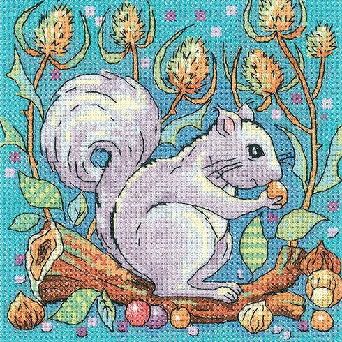 Grey Squirrel Cross Stitch Kit