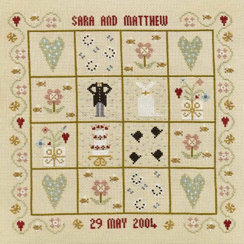 Four Hearts Wedding Sampler Cross Stitch Kit