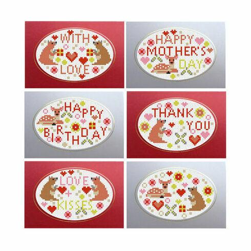 Bear & Bambi Greetings Cards Cross Stitch Kit