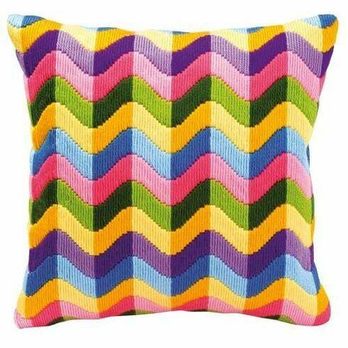 Bold Geometric Style 2 Long Stitch Cushion Panel Kit