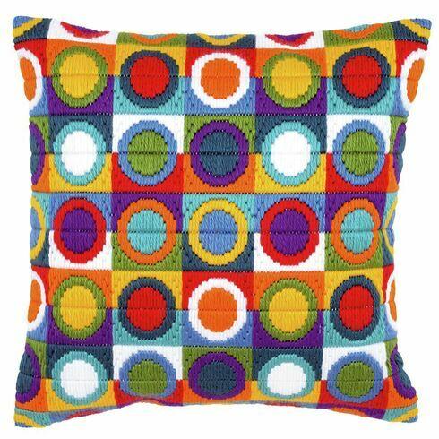 Bold Circles Long Stitch Cushion Panel Kit