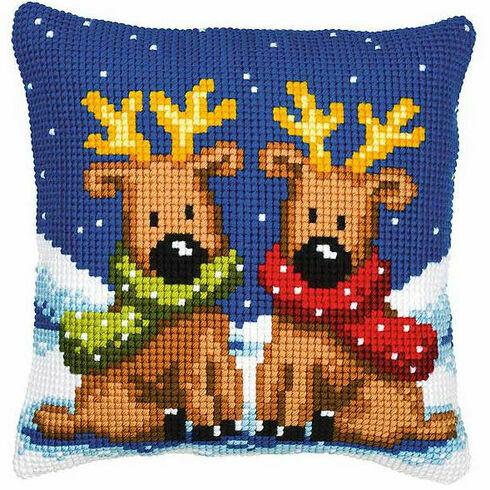 Reindeer Twins Chunky Cross Stitch Cushion Panel Kit