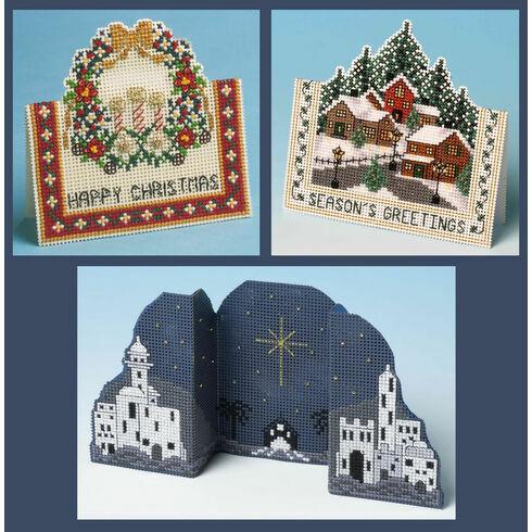 Set Of 3 3D Christmas Card Cross Stitch Kits (Christmas Village, Christmas Ring & Bethlehem Night)