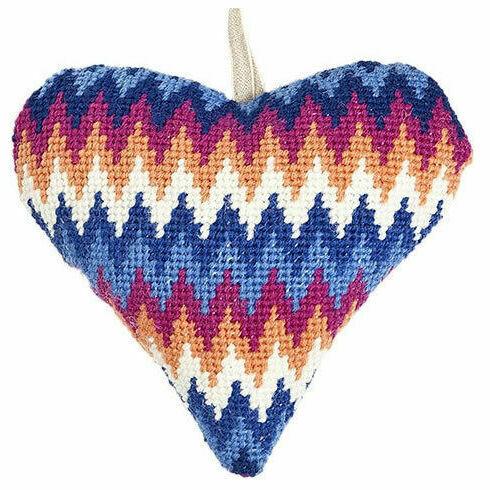 Blue Bargello Lavender Heart Tapestry Kit