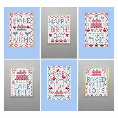 Cake Time Cross Stitch Birthday Card Kits (Set Of 6)
