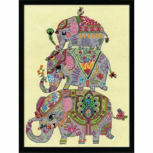 Elephant Trio Cross Stitch Kit