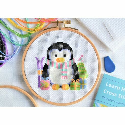 Beginners Penguin - Learn How To Cross Stitch Complete Tutorial Kit