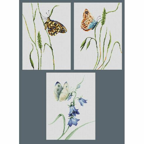 Set Of 3 Summer Butterfly Cross Stitch Kits