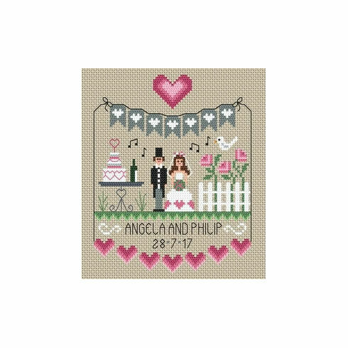 Pink Hearts Wedding Sampler Cross Stitch Kit