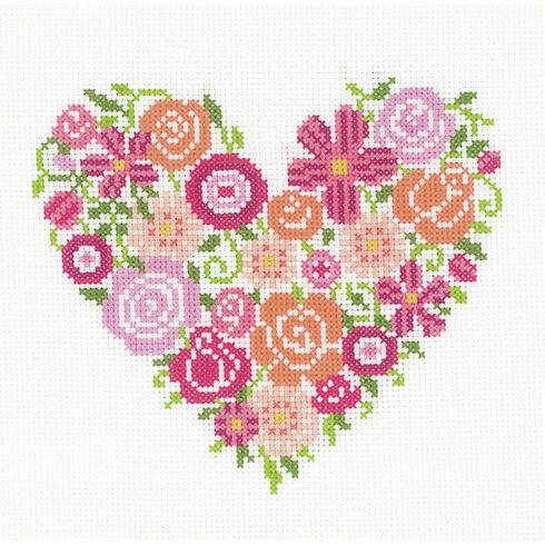 Floral Heart Cross Stitch Kit