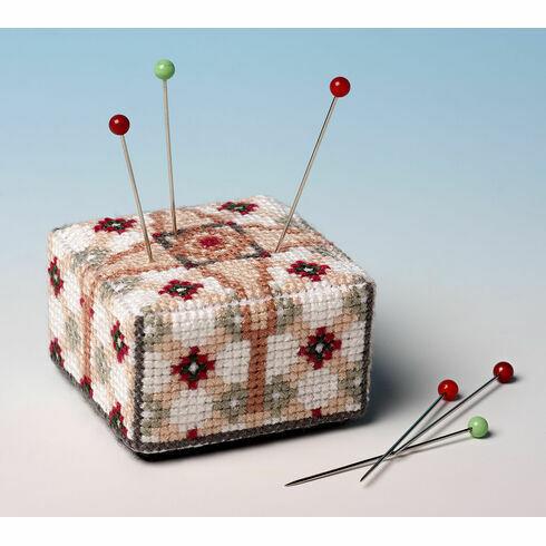 The Victorian Tile Pin Cushion 3D Cross Stitch Kit