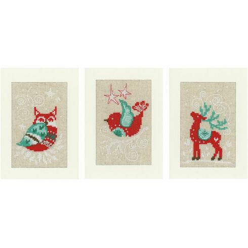 Winter Scenes Cross Stitch Christmas Card Kits (Set Of 3)