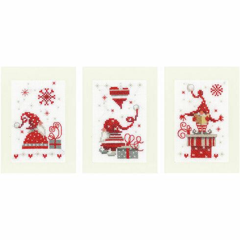 Christmas Gnomes Cross Stitch Card Kits (Set of 3)
