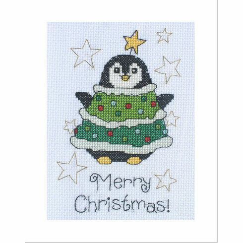 Daisy Penguin Cross Stitch Christmas Card Kit