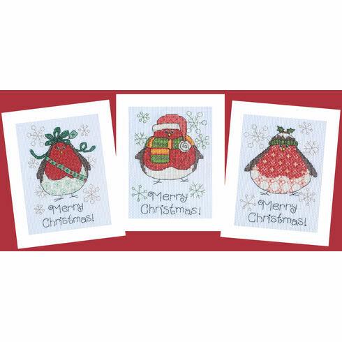 Three Round Robins Cross Stitch Christmas Card Kits (Set of 3)