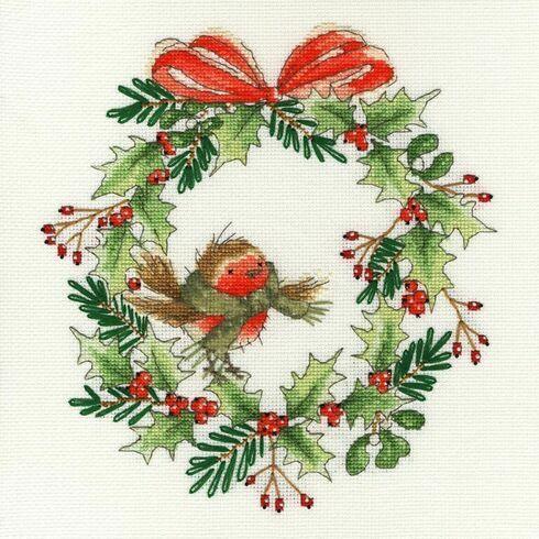 Robin Wreath Cross Stitch Kit