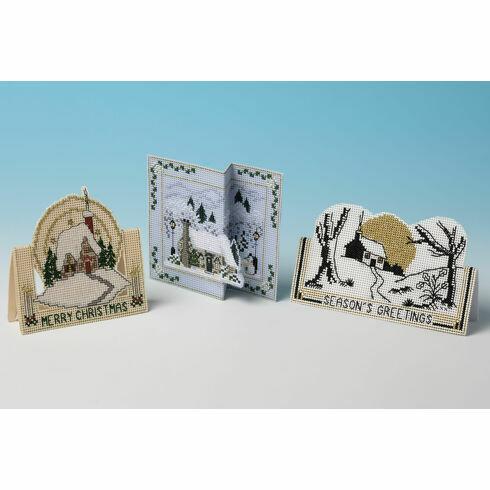 Cottage Selection - Set of 3 3D Cross Stitch Christmas Card Kits