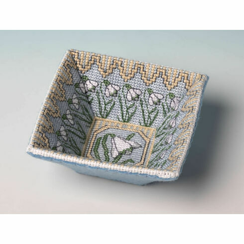 Snowdrop Trinket Tray 3D Cross Stitch Kit
