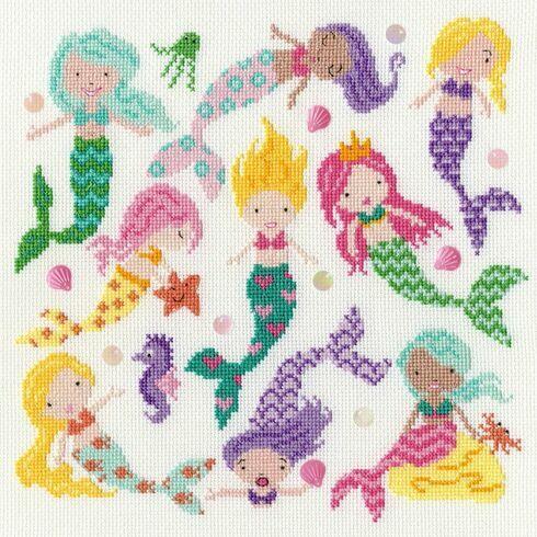 Slightly Dotty Mermaids Cross Stitch Kit