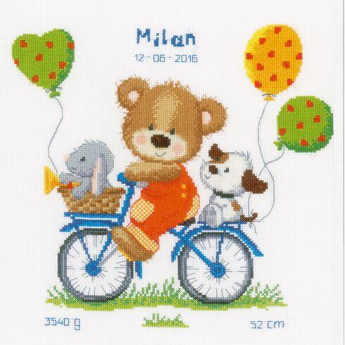 Cycling Bear Cross Stitch Birth Record Kit