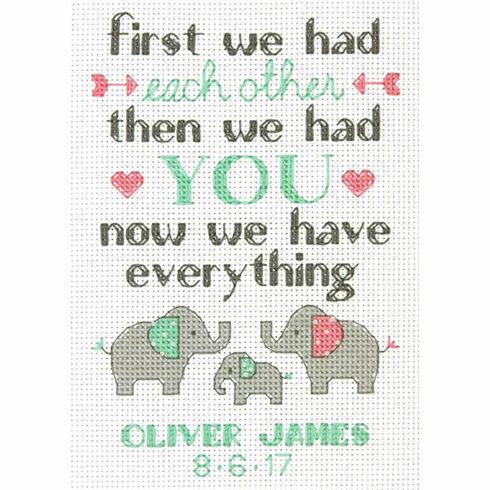 Elephant Family Cross Stitch Birth Record Kit