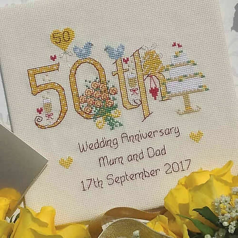 50th Wedding Anniversary Numbers Cross Stitch Kit