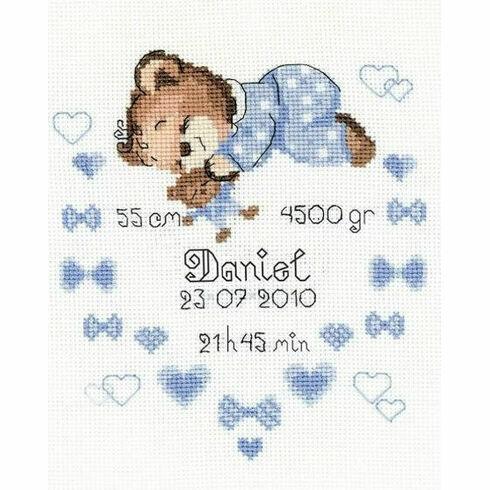 Boy Birth Announcement Cross Stitch Kit