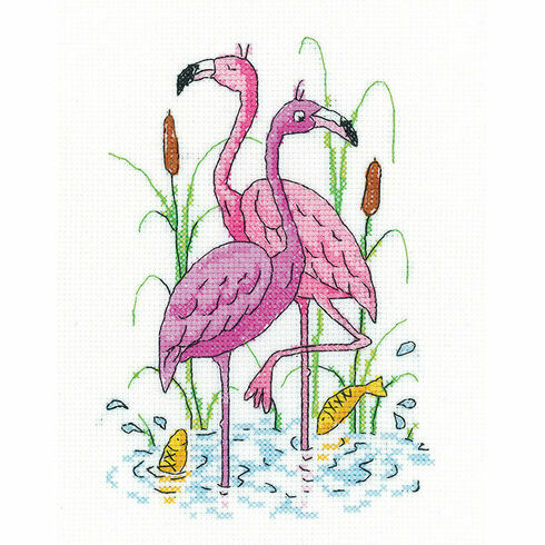 Flamingos Cross Stitch Kit by Karen Carter