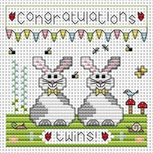 Twin Bunnies Cross Stitch Card Kit