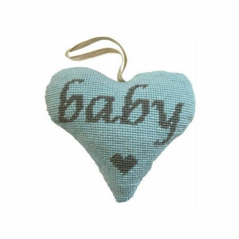 Baby Boy Grey On Blue Heart Tapestry Kit