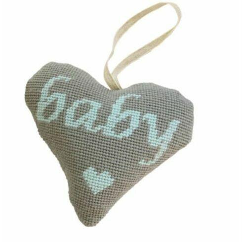 Baby Boy Blue On Grey Heart Tapestry Kit